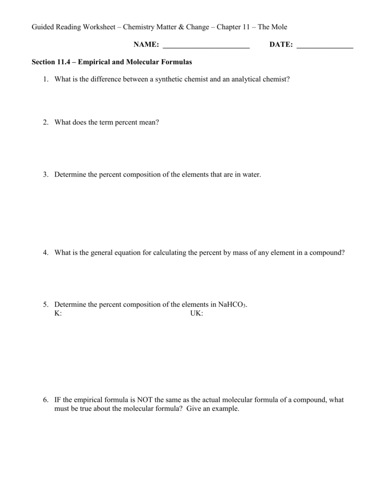 Worksheets Percent Composition And Molecular Formula Worksheet guided reading ch 11 4 doc