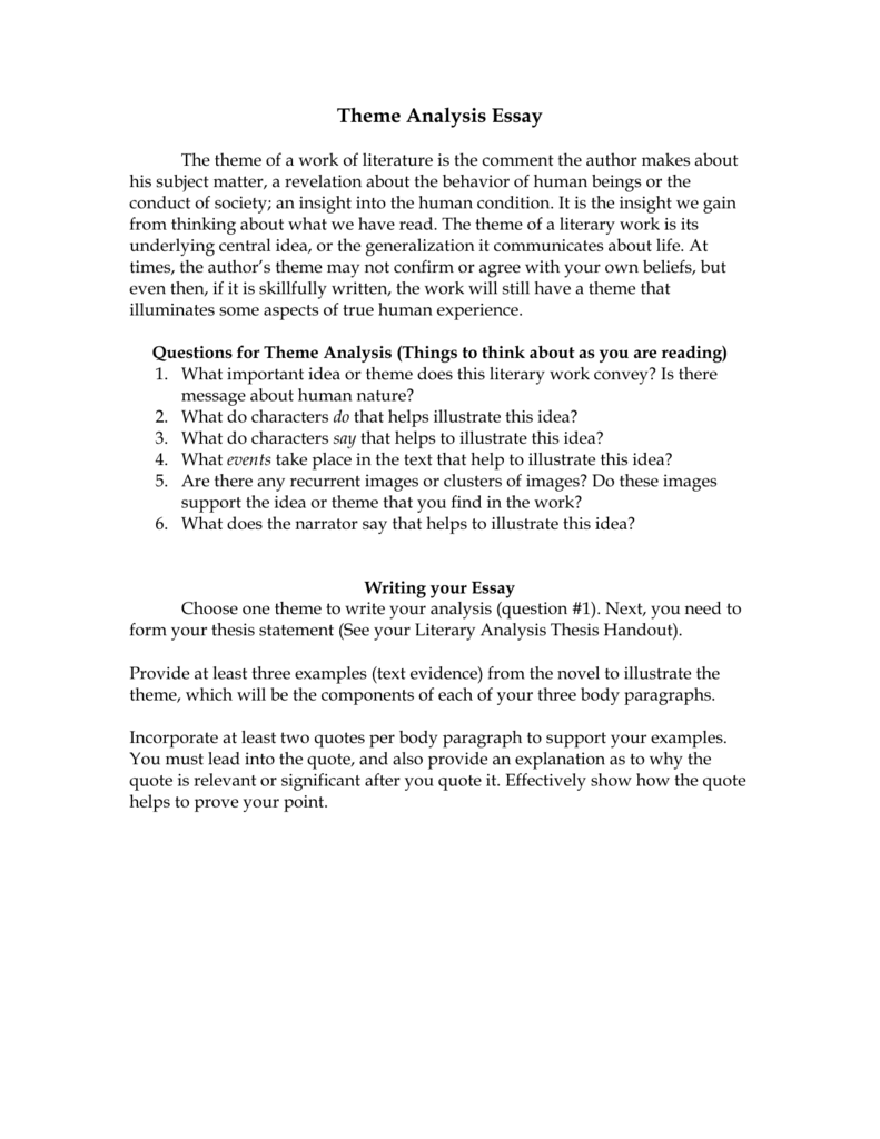 literary analysis essay on theme Literary analysis essay graphic organizer (five paragraph essay) 1 overall essay planner: use this page of the graphic organizer to plan what your overall essay.