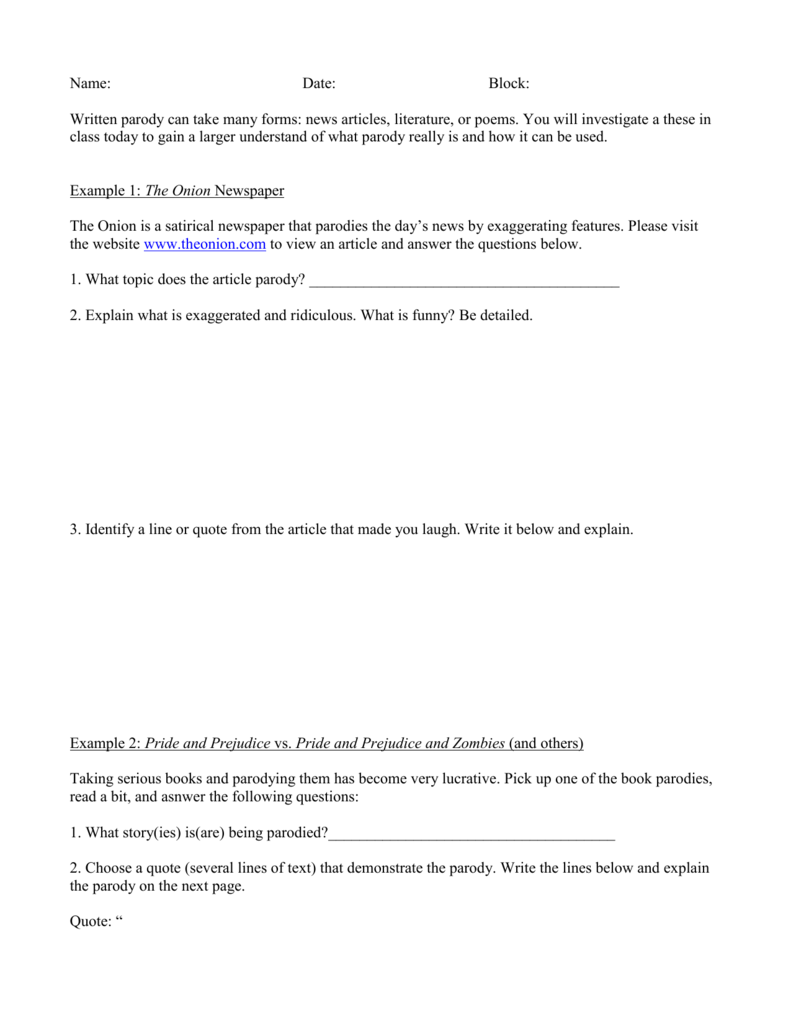 Spoof Satire Parody Worksheet