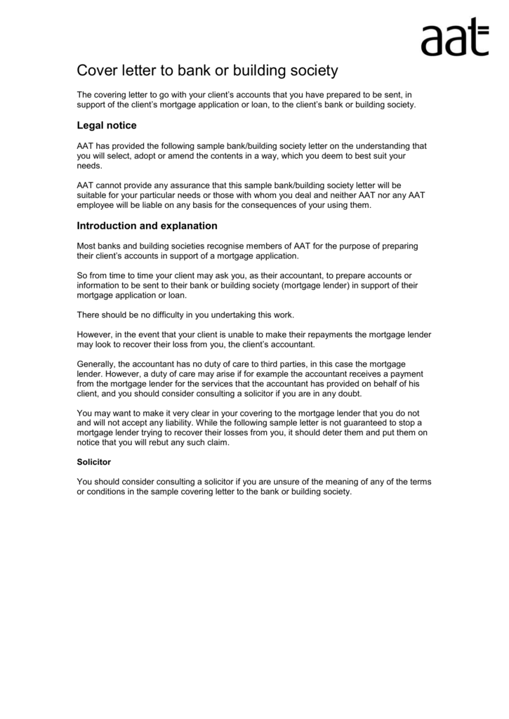 Sample covering letter to the bank or building society