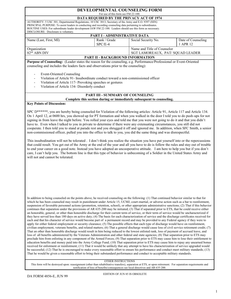 developmental counseling form on event-oriented 4856 examples, usmc negative counseling examples, army 4856 initial counseling examples,