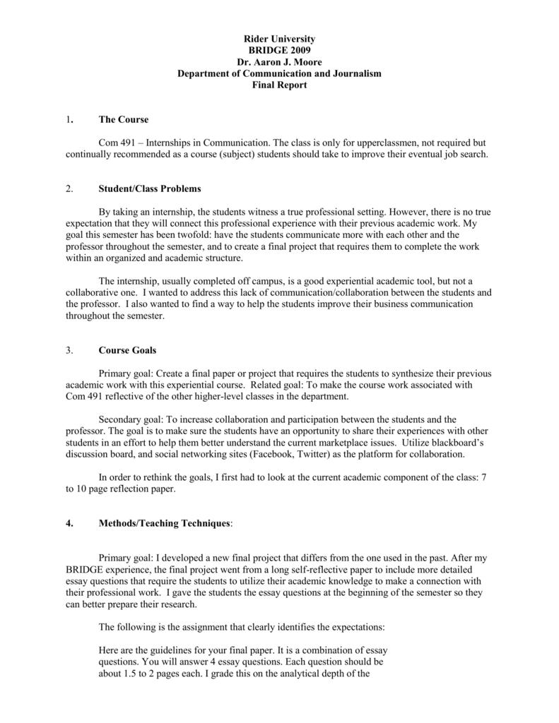 internship expectations essay
