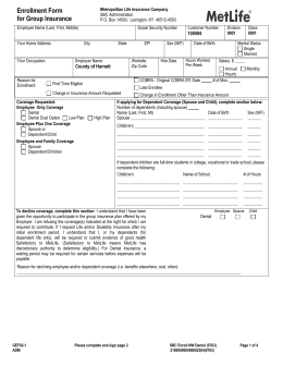 MetLife EOI form