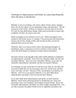 Teachings on Impermanence and Death, by Lama Zopa Rinpoche,