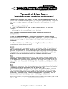 TIPS ON GRAD SCHOOL ESSAYS