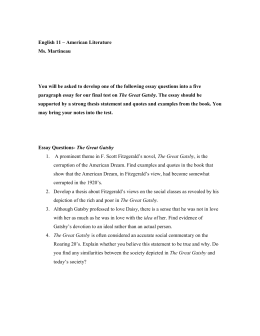 the great gatsby essay essay questions gatsby
