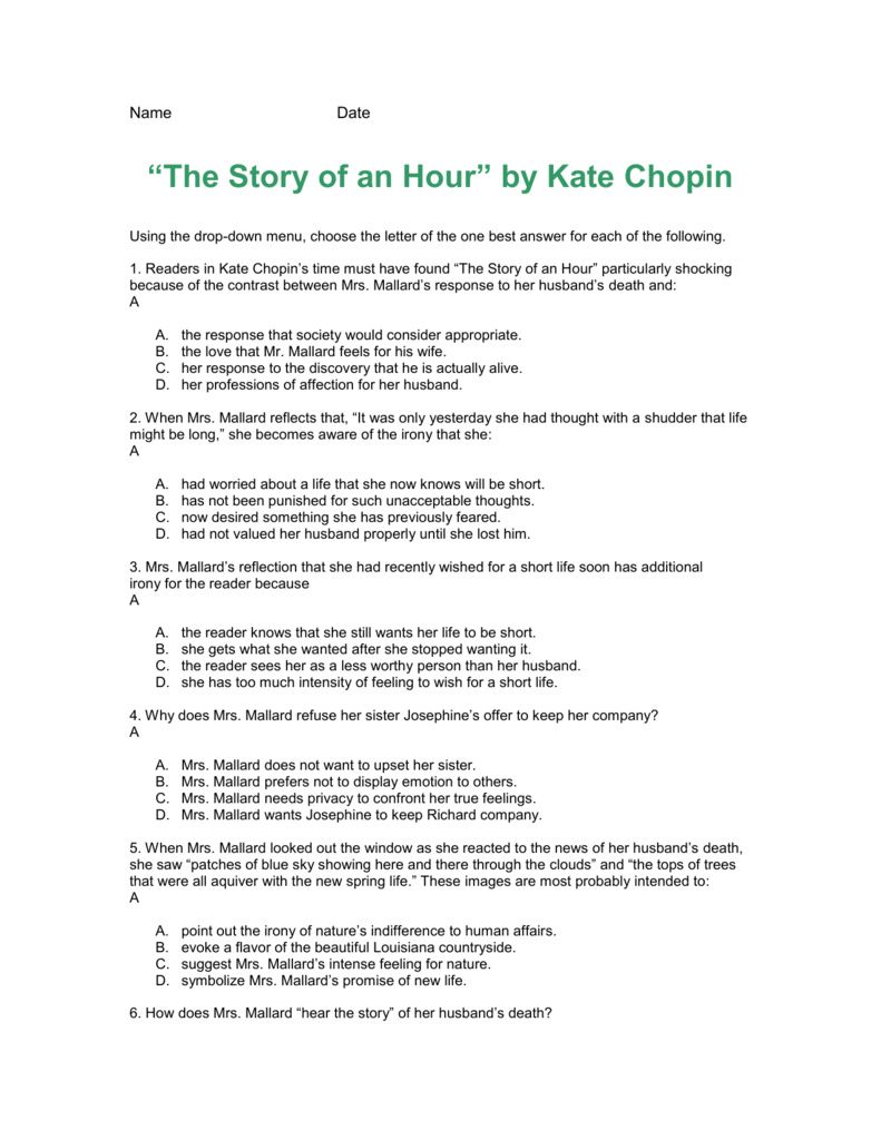 "character analysis of the short stories the kiss by kate chopin Most of kate chopin's short stories are set in the late nineteenth century in louisiana, often rural louisiana most of the characters, like most of the people living in louisiana at the time, are creoles, acadians, ""americans"" (as the creoles and acadians call outsiders), african americans, native americans, and people of mixed race."