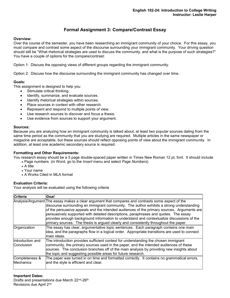 compare and contrast essay examples pdf
