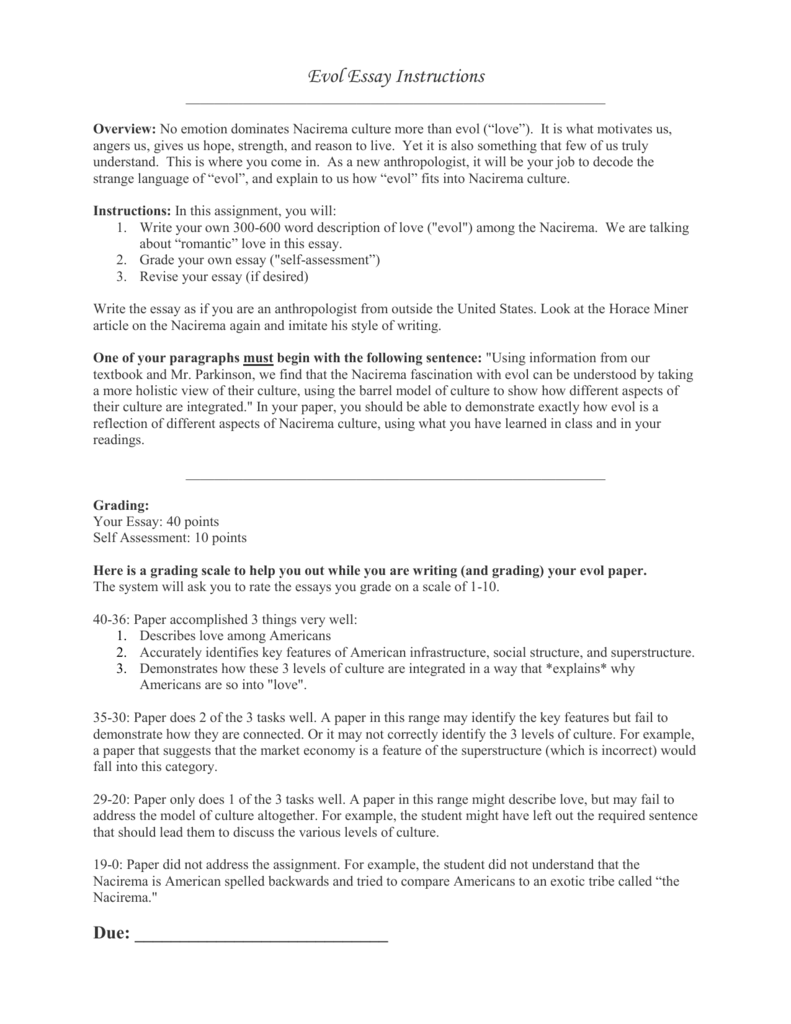 evol essay instructions doc