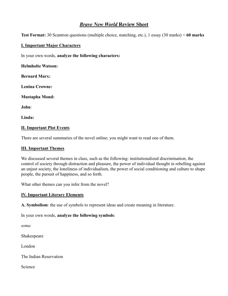 Brave New World Review Sheet doc