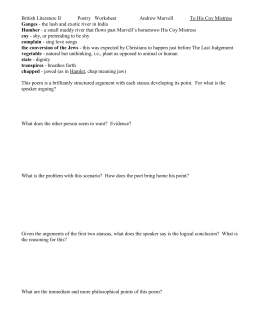 British Literature II Poetry Worksheet Andrew Marvell To His Coy