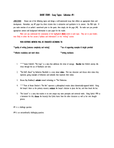 SHORT STORY: Take-Home Essay Questions: Collection 1 and