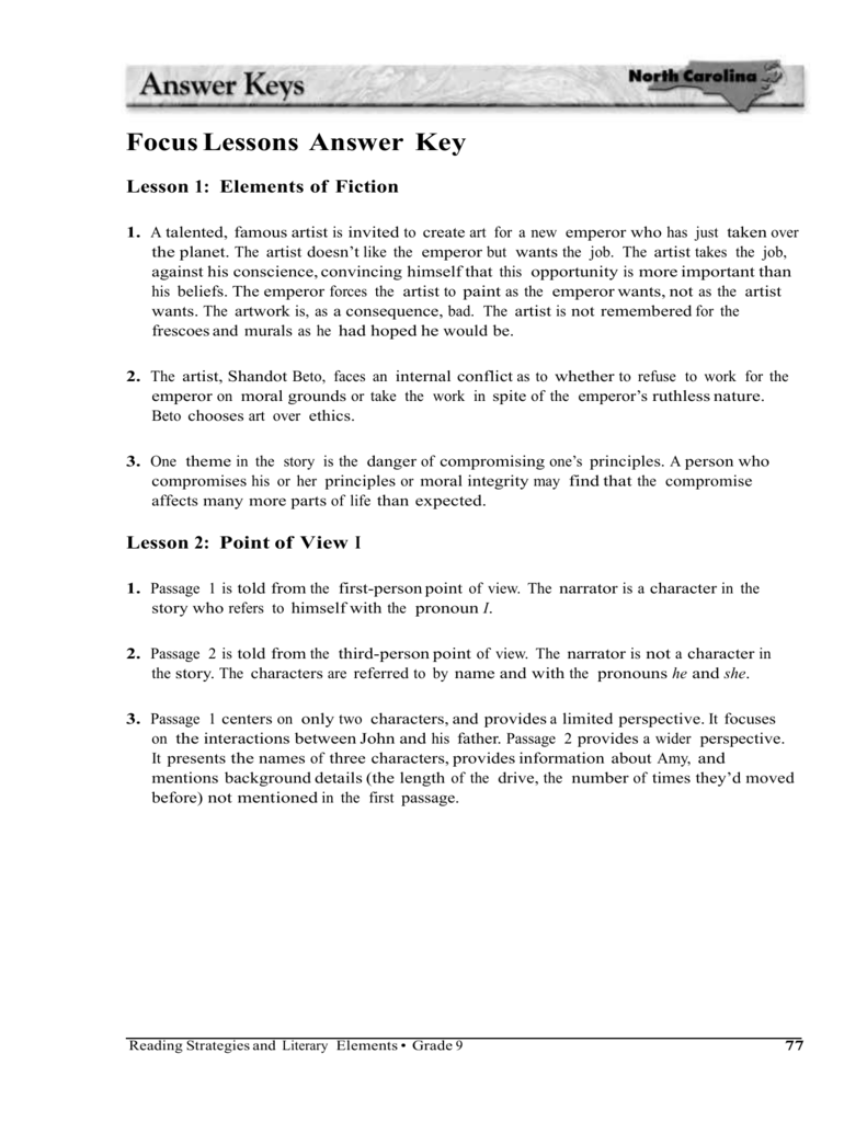 Focus Lessons Answer Key Lesson 1 Elements of Fiction 1 A – Point of View Worksheets Middle School
