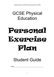 Student Guide for GCSE Personal Exercise Plan
