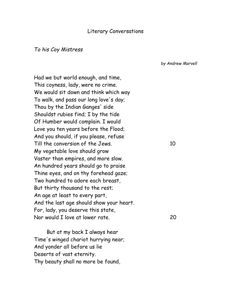 to his coy mistress poem with line numbers