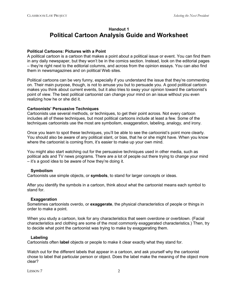 Analyzing Cartoons Worksheet : Political cartoon analysis guide and worksheet