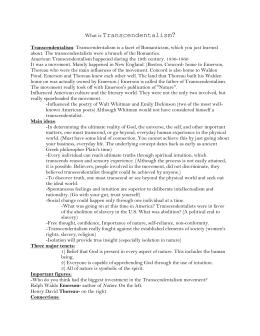 Transcendentalism study guide