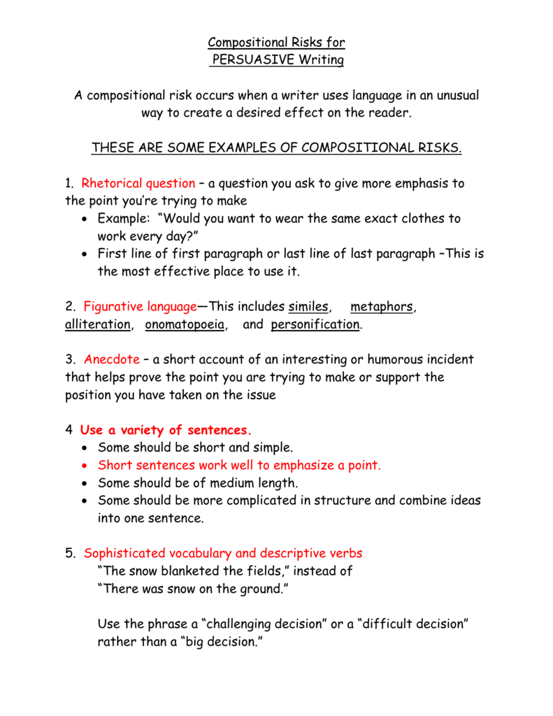 Compositional Risks For Persuasive Writing Persuasive Essay