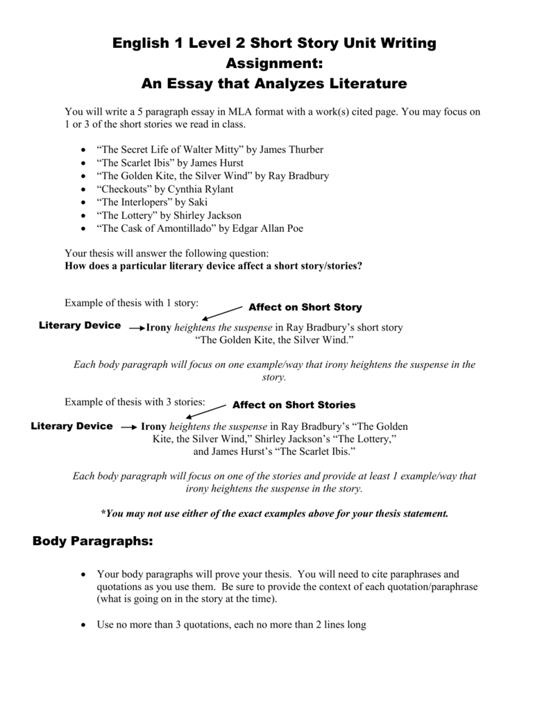 english 1 level 2 short story unit writing assignment
