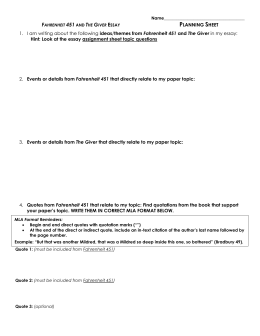fahrenheit  the giver and pleasantville essay planning sheet