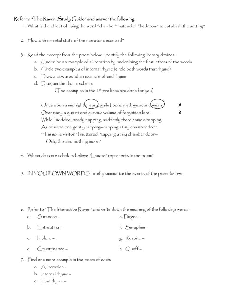 Questions For The Raven Webquest