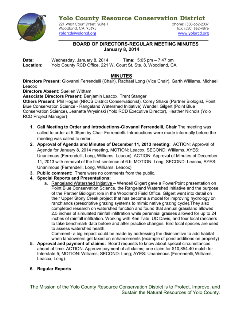 Minutes - Yolo County Resource Conservation District