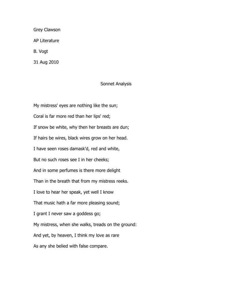 my mistress eyes essay