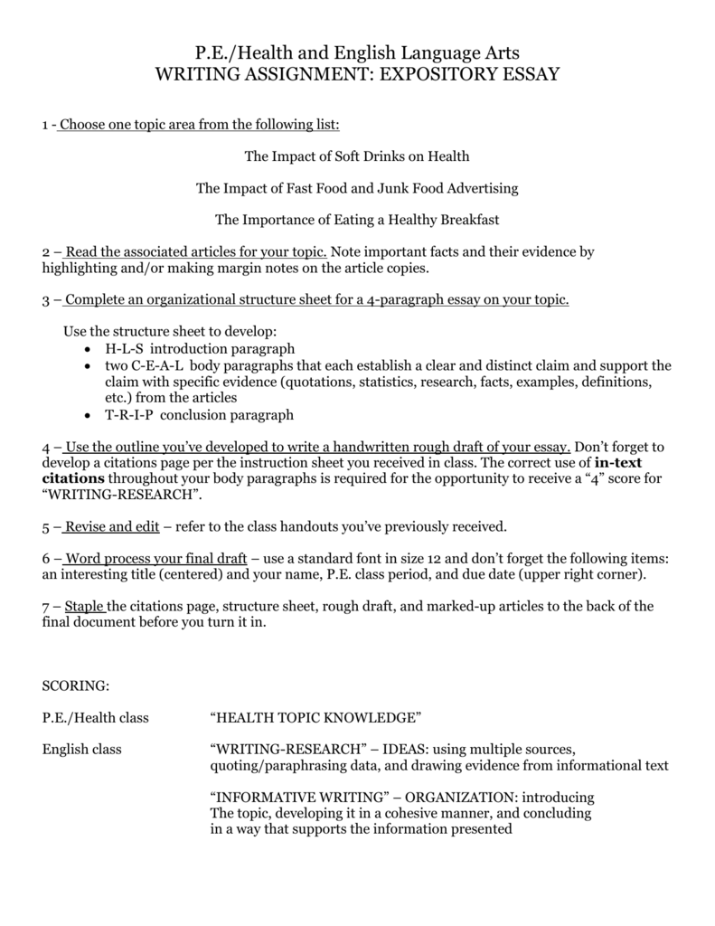 Essay On Health Care  Essays In Science also Example Of An Essay Proposal Userfilesmy Filespe Health English Essaydocid Short English Essays