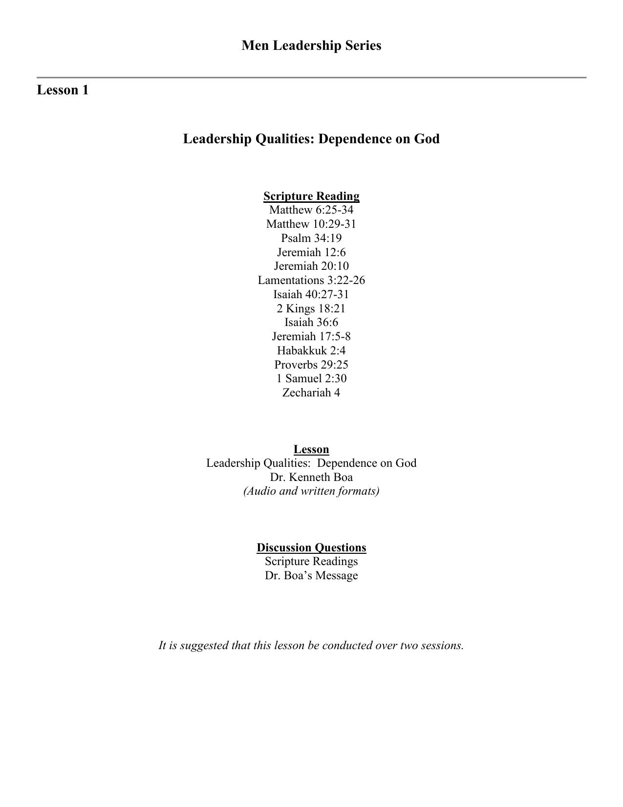 Men`s 7/52 Leadership Series - Kingdom Authority Ministries