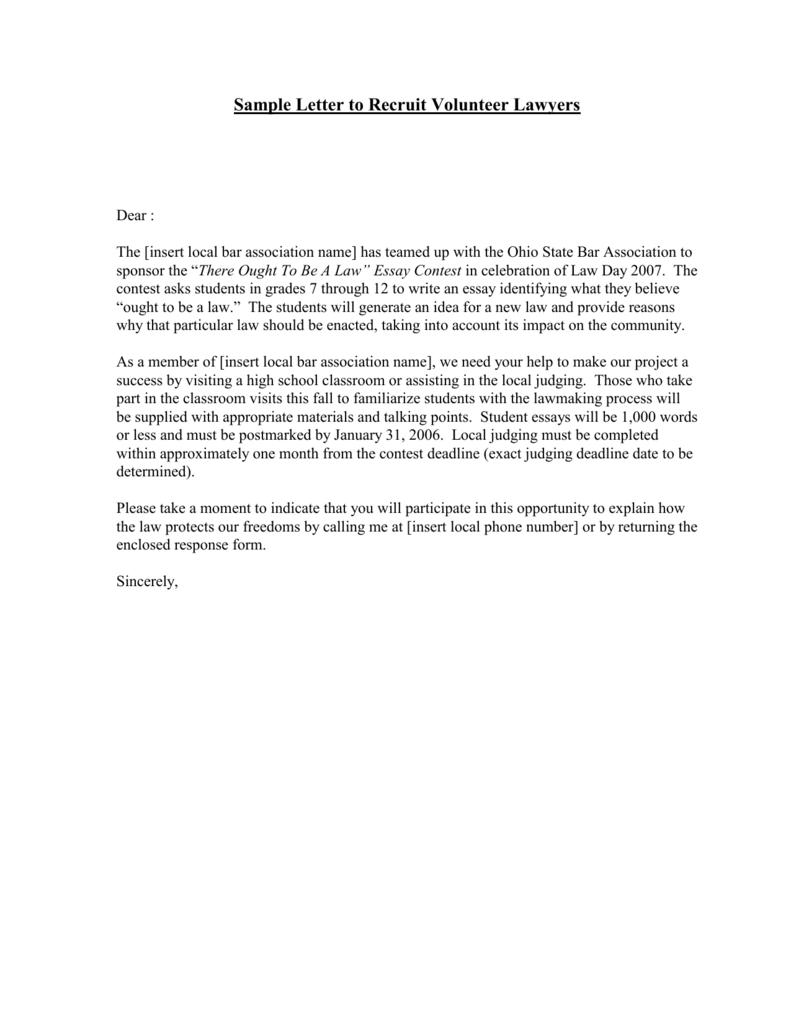 Volunteer Letter Sample from s3.studylib.net