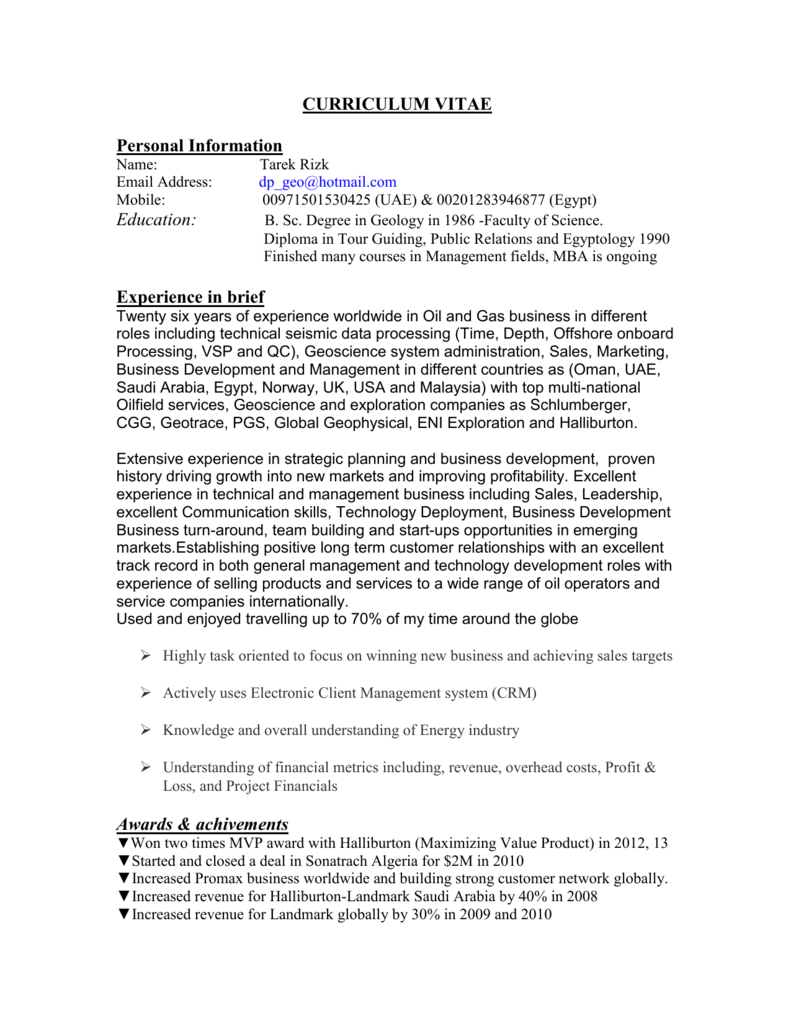 CURRICULUM VITAE - Society of Exploration Geophysicists