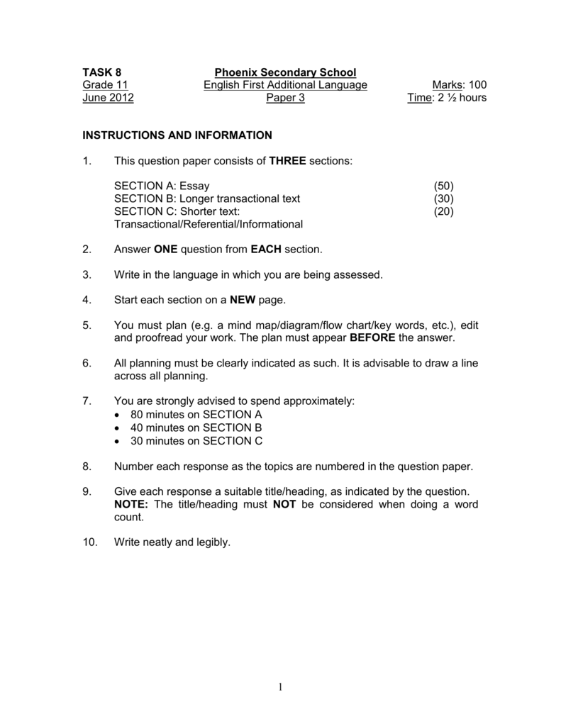 Grade 8 english fal exam papers how to write iqr