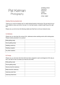Wedding Questionnaire - Pat Kelman Photography