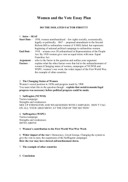Women And The Vote Essay Plan Related Documents Women And The Vote Essay Plan