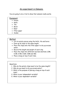 Osmosis in Potato Practical Sheet