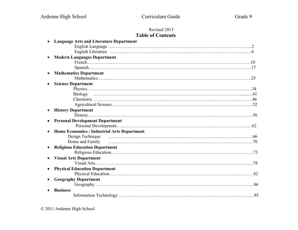 Grade 9 Curriculum - Ardenne High School