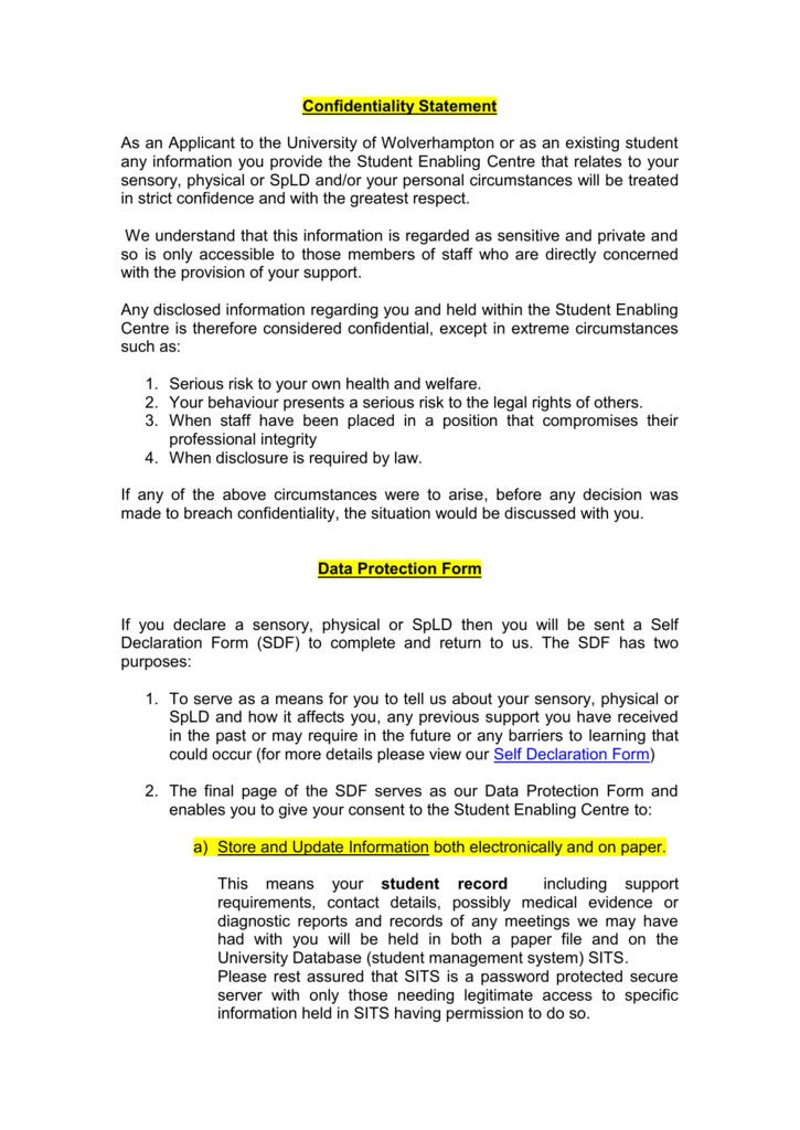 Confidentiality Statement - University of Wolverhampton
