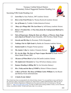 Incoming Fifth Grade Reading List