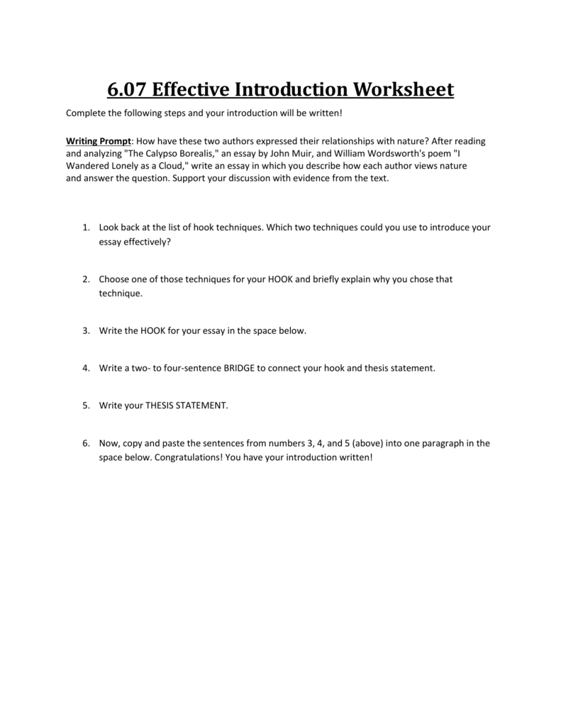 effective introduction worksheet complete the following steps