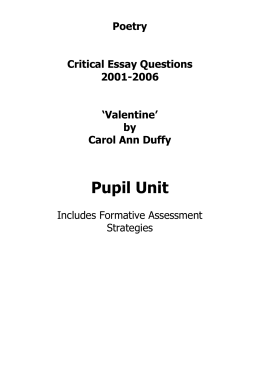 valentine carol ann duffy essay plan Essay -
