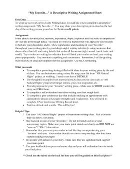 Peer review questions for descriptive essay