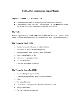 Past Exam Topics - University of the West Indies