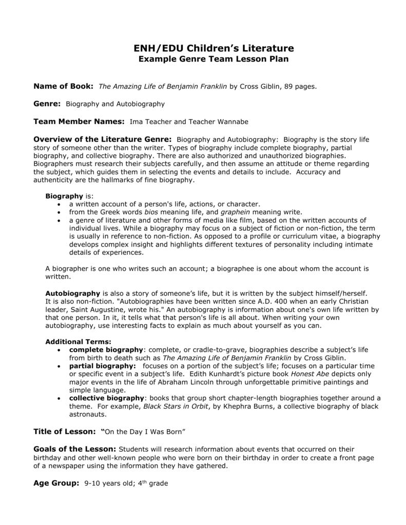 autobiography graphic organizer pdf