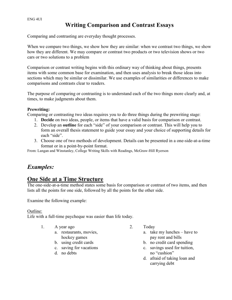 free compare and contrast essay examples