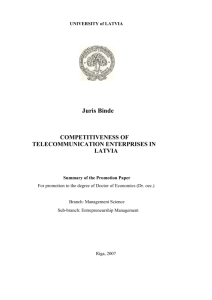 Juris Binde. Competitiveness of telecommunication enterprises in