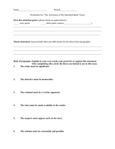 Worksheet for Speckled Band Essay