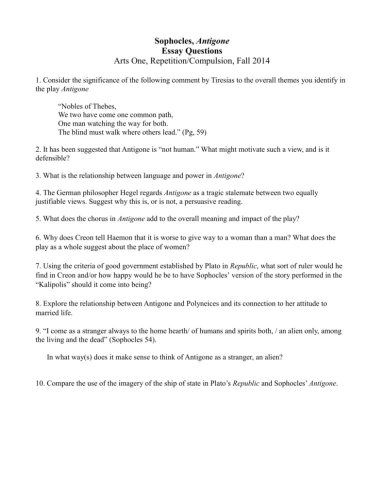 Sophocles antigone essay questions descriptive essay on a painting
