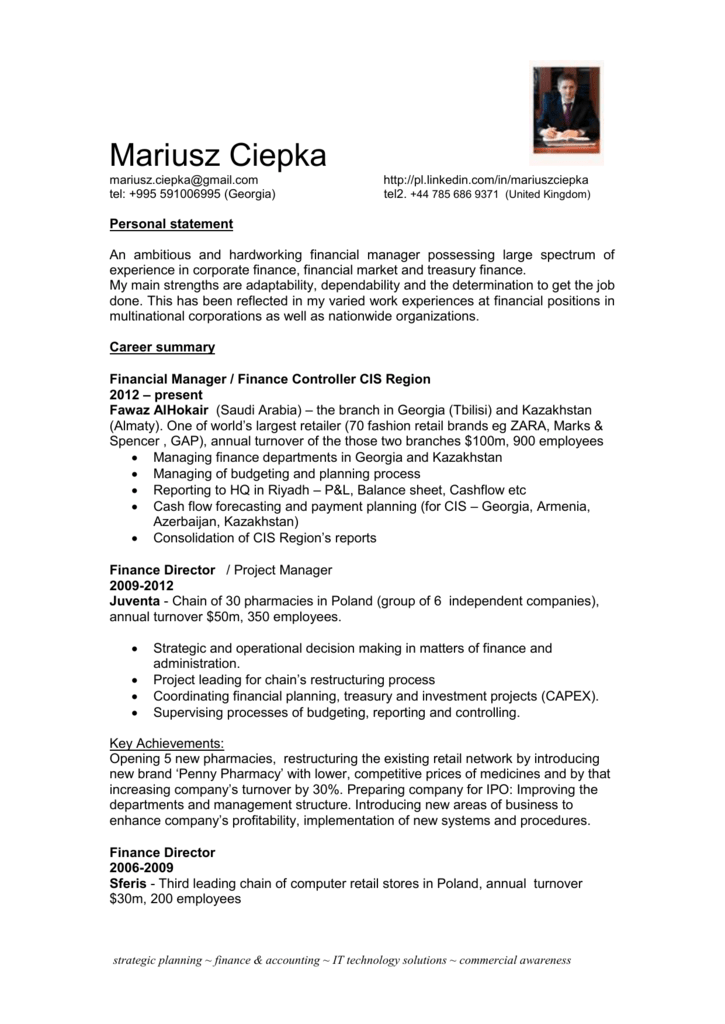 Qualifications CV template
