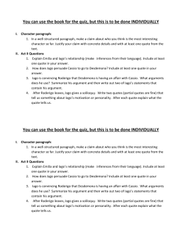 Othello act 2 quiz essay | Research paper Sample - June 2019