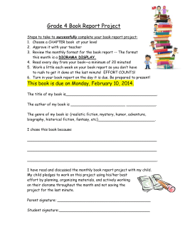 Monthly Book Report - Waterford Public Schools